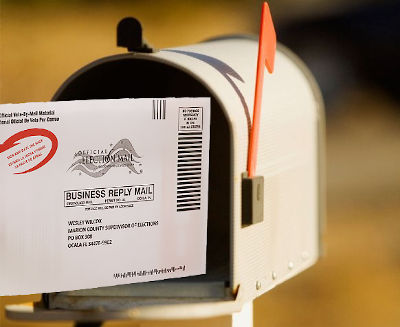 mailbox with vote-by-mail envelope