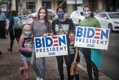 girls with biden for president signs