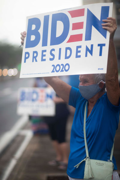 woman wearing blue shirt with biden for president sign