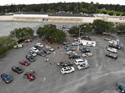 car caravan parking lot overhead view