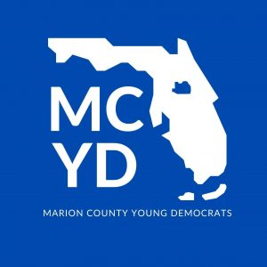 logo with white florida state shape and MCYD letters on blue background